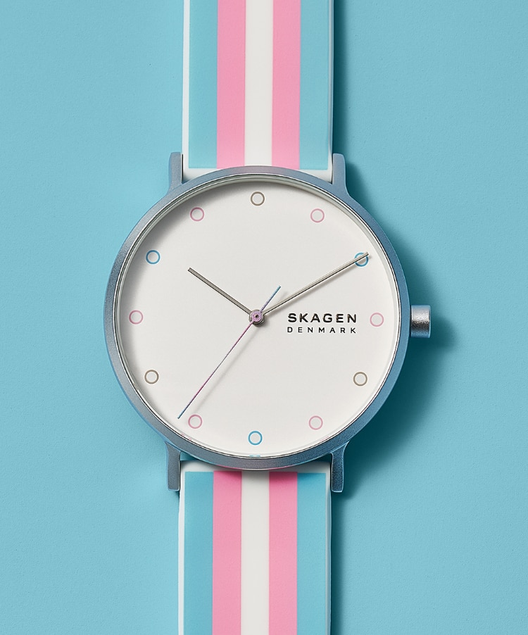 Image of our Transgender watch in pastel pink and blue.