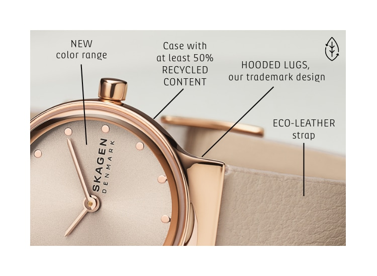 Image of Freja watch with features called out. Callouts: NEW color range. Case with at least 50% RECYCLED CONTENT. HOODED LUGS, our trademark design. ECO-LEATHER strap.