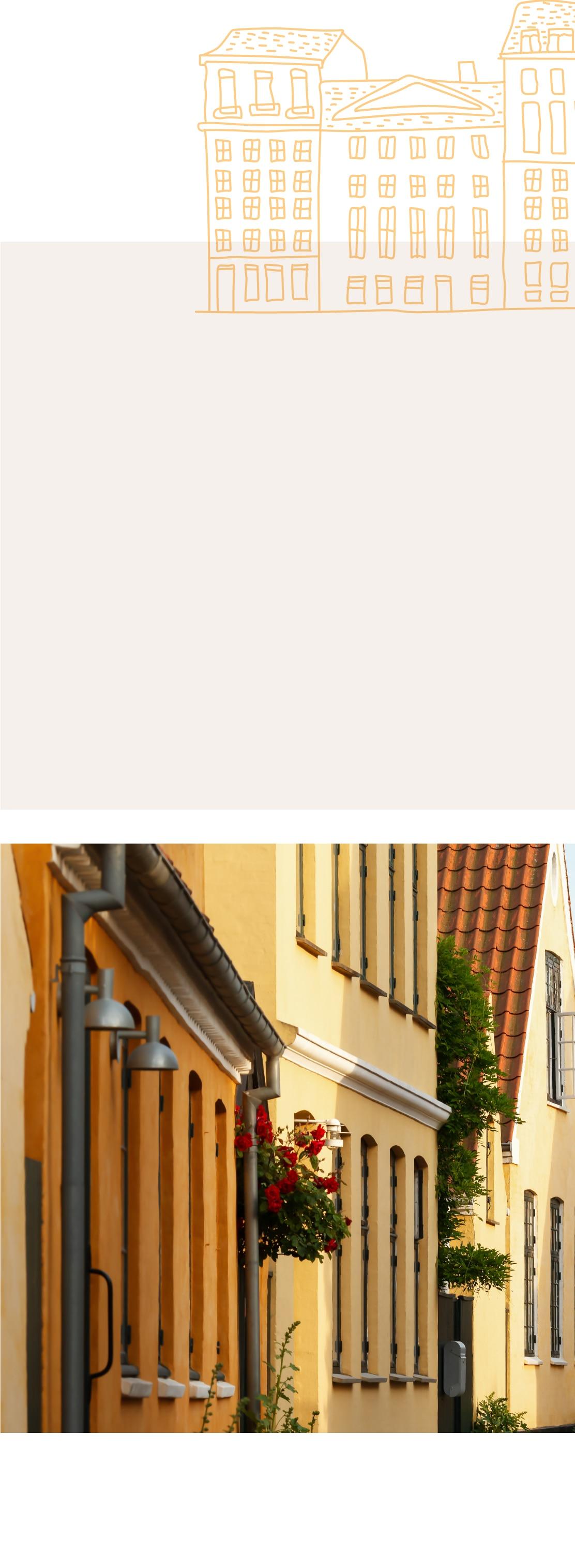 Illustration of buildings. Image of a quiet Copenhagen street.