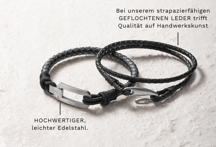 Two Skagen men's braided bracelets. Callouts: PREMIUM, lightweight stainless steel. Quality meets craft in our rugged, BRAIDED-LEATHER.