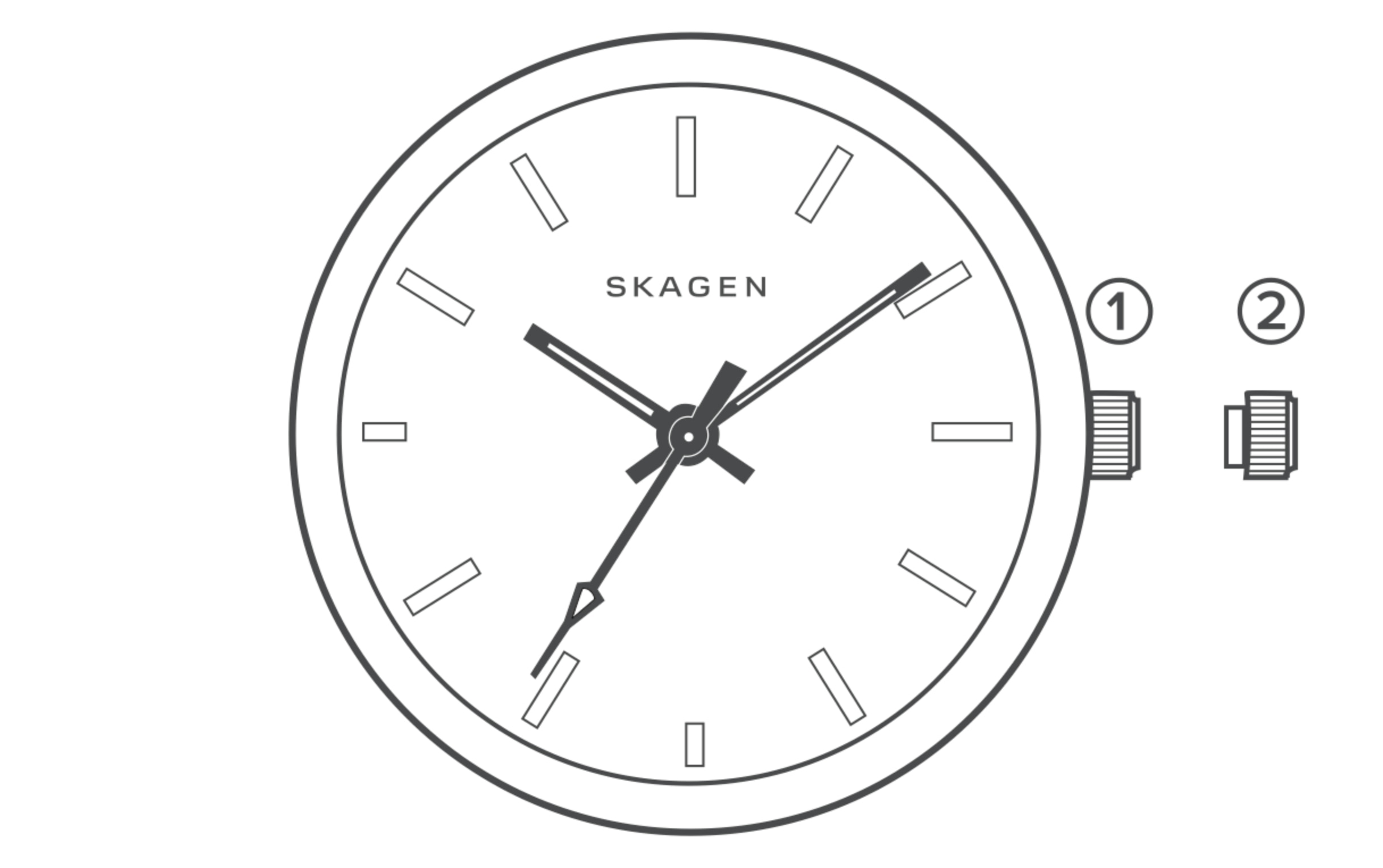 line art of a automatic watch dial, identifying the parts of the watch.