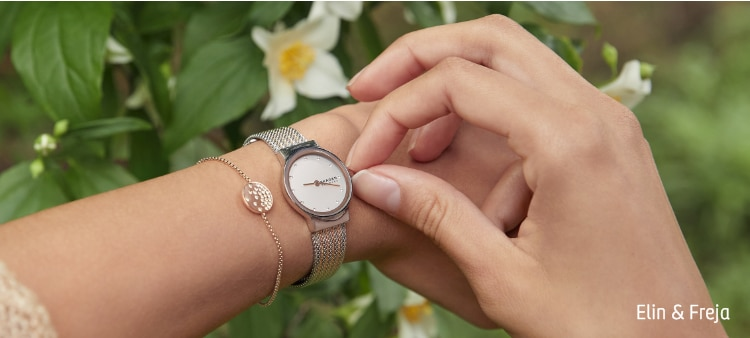 Image of Elin and Freja worn together on a wrist.