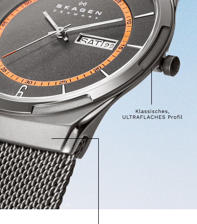 A close-up of the hooded lug of the Skagen Melbye watch. Callout: Heritage-driven ULTRA-SLIM profile
