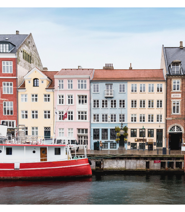 A colorful set of Danish row houses