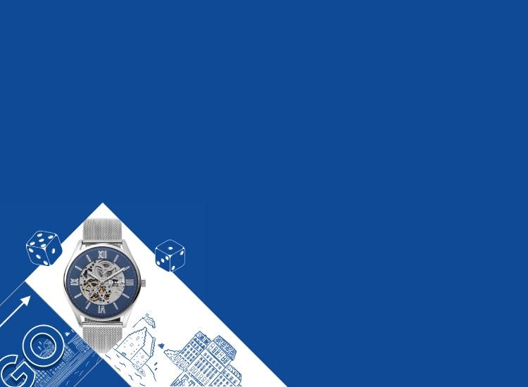 White banner with a Skagen watch