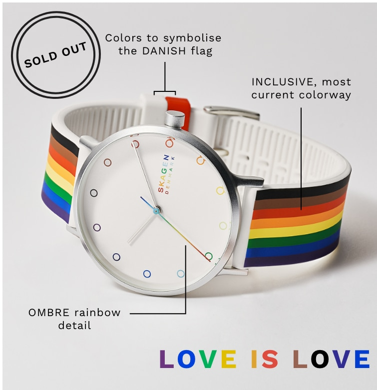 Image of our rainbow Pride watch.