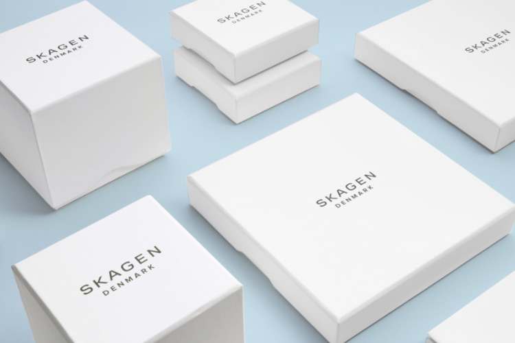 A collection of white Skagen boxes