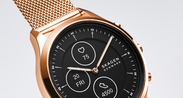 Rose gold-tone case with matching mesh strap and black dial.