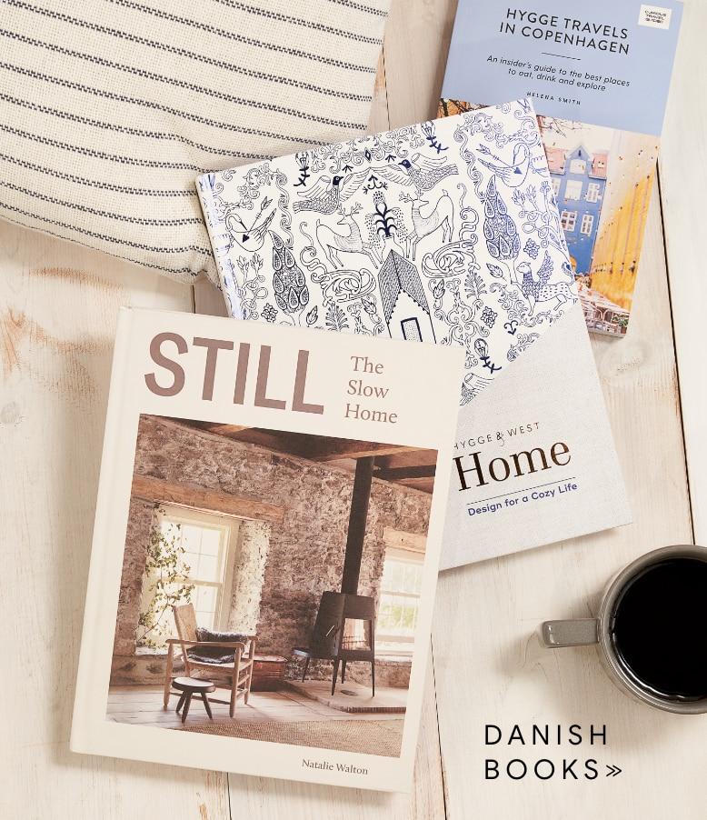 a stack of danish books