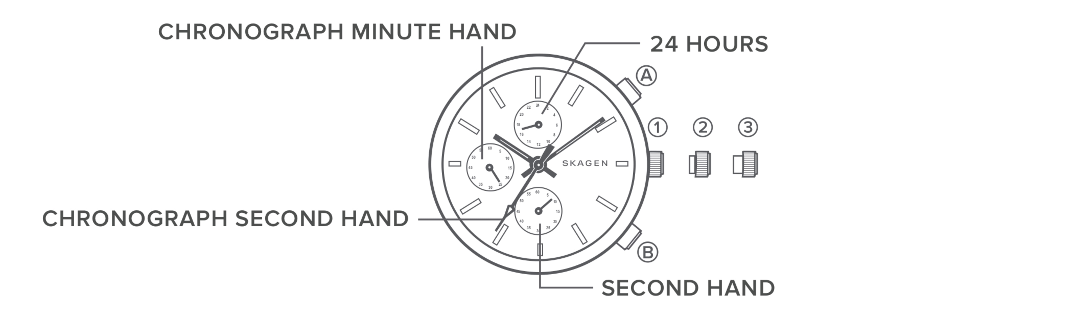 line art of a chronograph watch dial, identifying the parts of the watch.