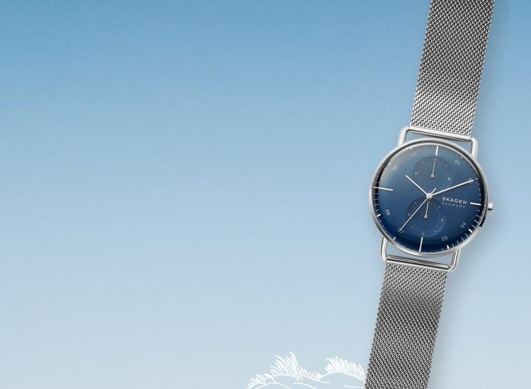 blue gradient background with a skagen horizont watch