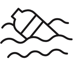 icon of a bottle in water