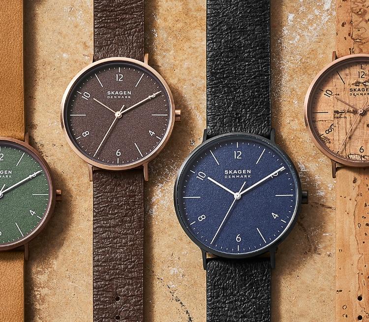 Acht unterschiedliche, umweltfreundliche Uhren auf der ganzen Seite.