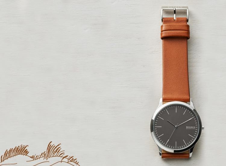 decorative background with a skagen watch