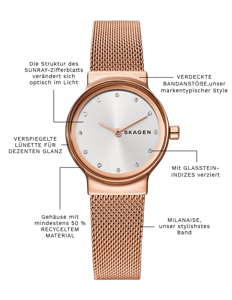 A skagen freja with the following callouts: HOODED LUGS, our trademark design. Case with at least 50% RECYCLED CONTENT. SUNRAY dial texture appears to shift in light. MIRRORED BEZEL for subtle shine. Adorned by CRYSTAL INDEXES.