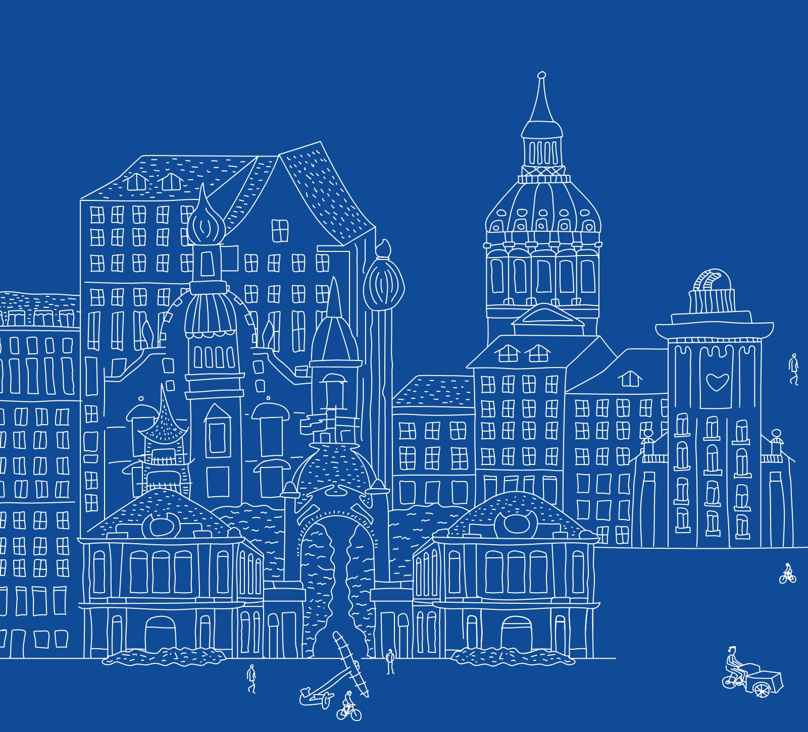 hand drawn line art of buildings on a blue background