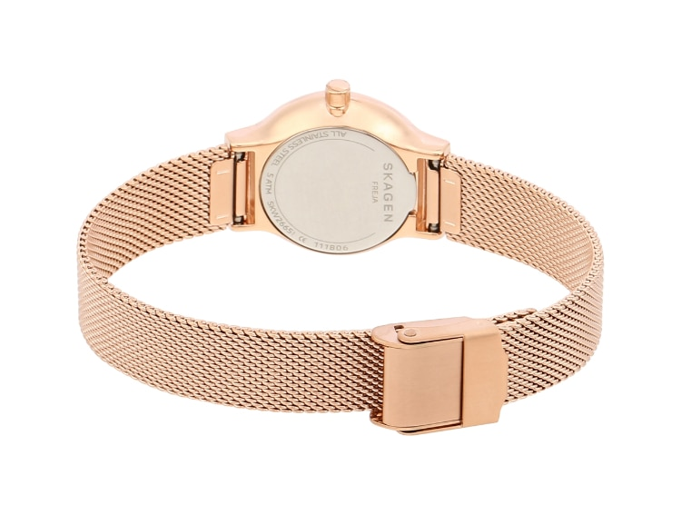 The back of a Skagen Freja in rose gold showing the mesh clasp.