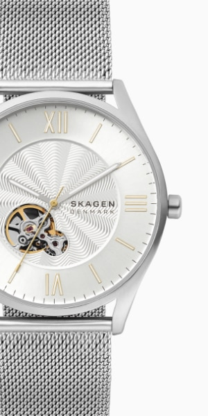 skagen watch with a metal mesh band