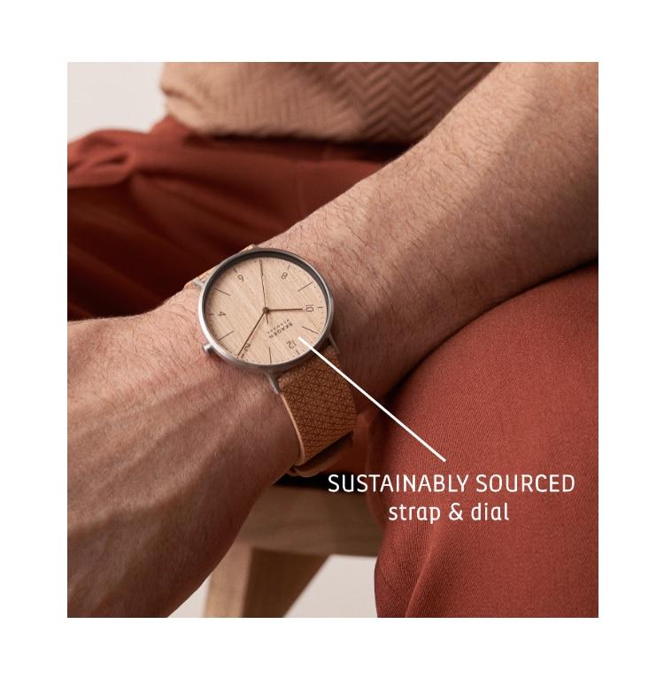 Image of  Aaren Naturals wood veneer watch. Callouts: SUSTAINABLY SOURCED strap & dial.