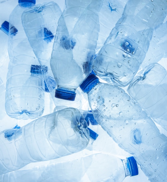 Photo of used water bottles.