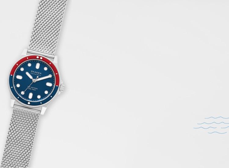 gray background with a skagen fisk watch