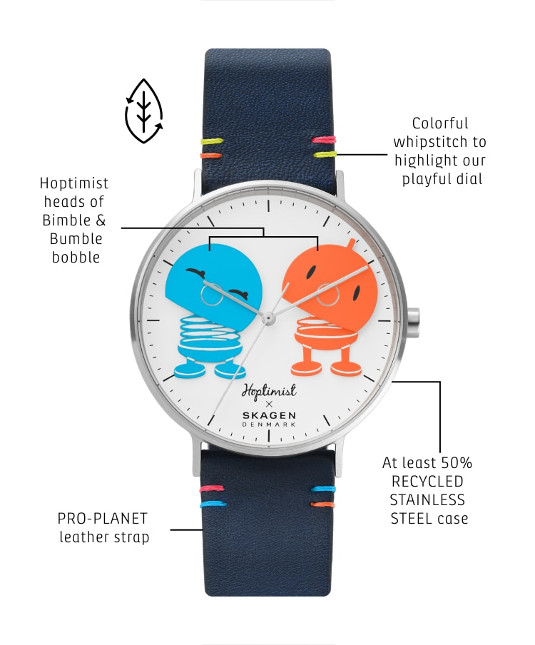 Close-up of the Hoptimist watch.