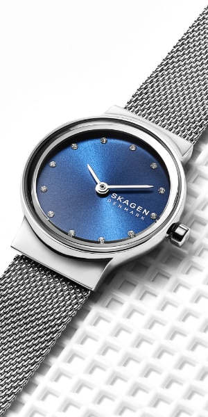 skagen watch with a stainless steel mesh band
