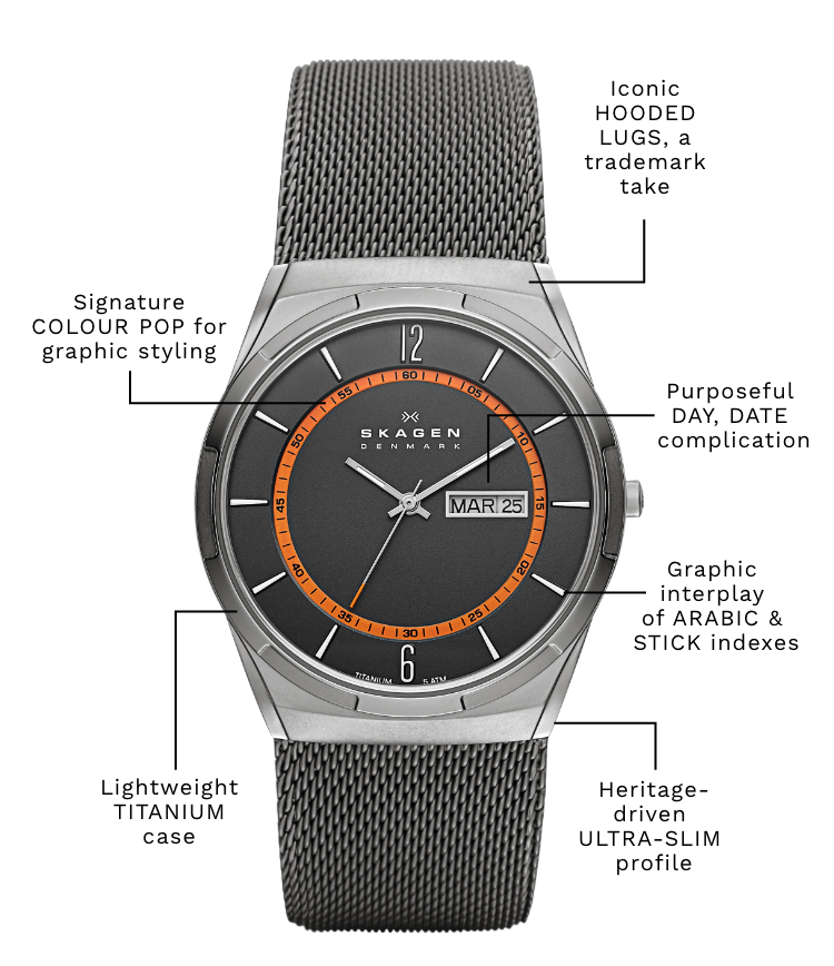 A skagen melbye with the following callouts: Iconic HOODED LUGS, a trademark take. Signature COLOR POP for graphic styling. At least 50% recycled stainless steel strap. Lightweight TITANIUM case. Heritage-driven ULTRA-SLIM profile.