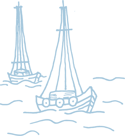hand-drawn illustration of boats on water