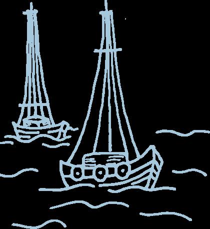 Handgezeichnete Illustration von Booten auf dem Wasser