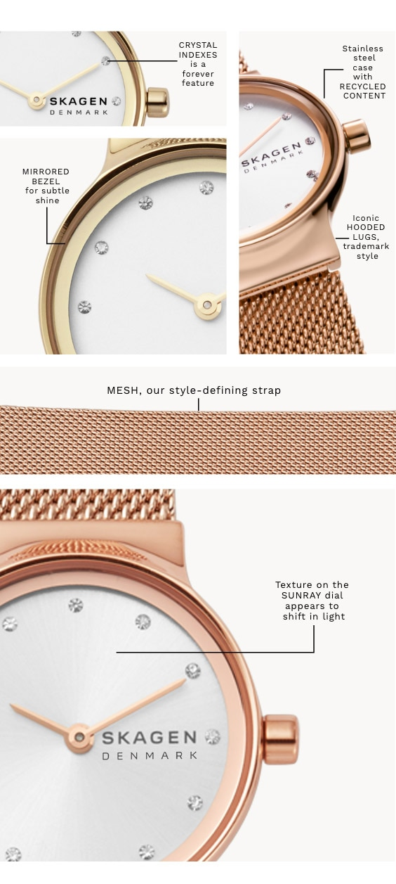 A Freja watch with a gold-tone case and matching mesh strap with a white dial and sparkling indexes. Has the following call-outs on it: 'Crystal Indexes is a forever feature.' 'MIRRORED BEZEL for subtle shine.' Stainless steel case with RECYCLED CONTENT.' 'Iconic HOODED LUGS, trademark style.' 'Texture on the SUNRAY dial appears to shift in the light.' 'MESH, our style-defining strap.'
