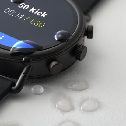 Water droplets bead up on the new swim proof Falster 2 touchscreen smartwatch.