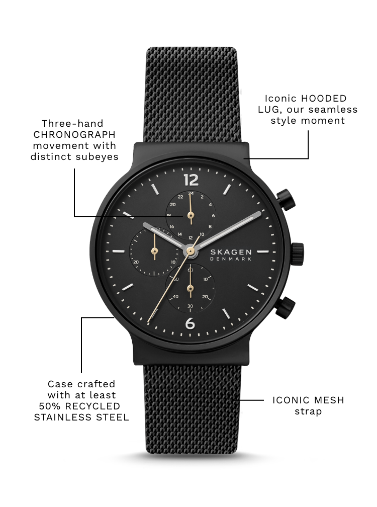Black watch with feature callouts: Case crafted with at least 50% RECYCLED STAINLESS STEEL. Iconic HOODED LUG, our seamless style moment. Three-hand CHRONOGRAPH movement with distinct subeyes. ICONIC MESH strap