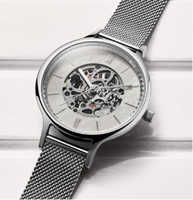Silver case with matching mesh strap and white dial.