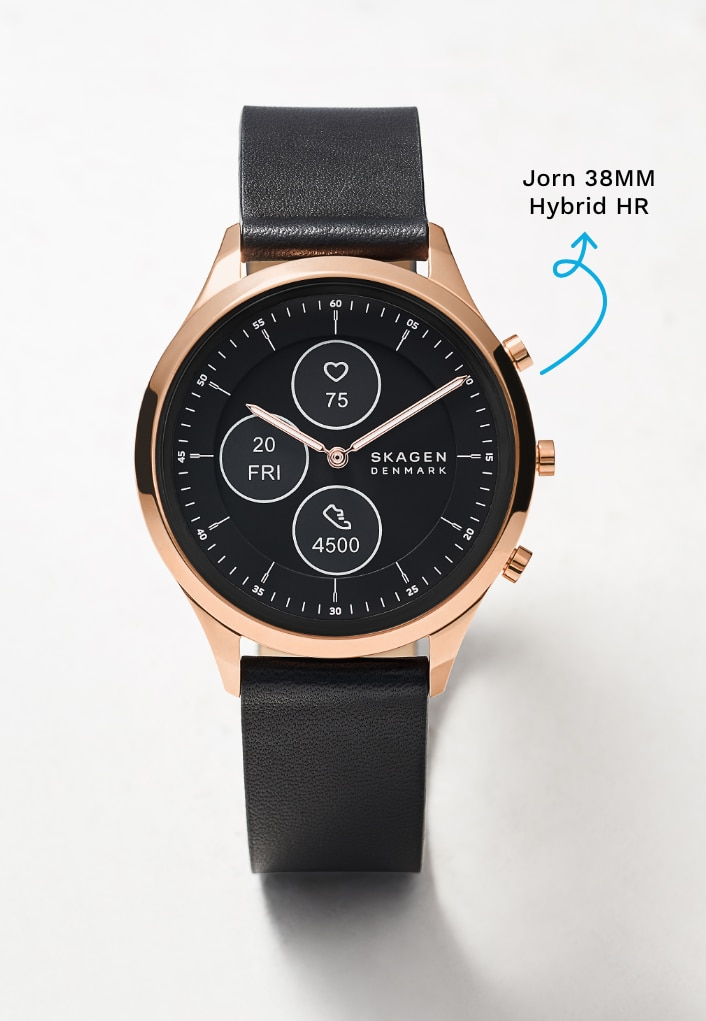 Rose gold-tone case with a black dial and black leather strap.