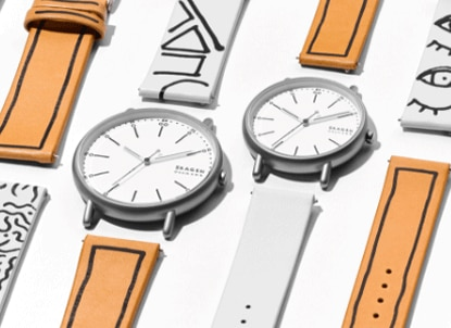 two signatur sketchable watches and a variety of watch bands