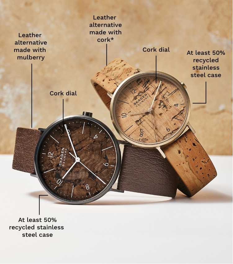 Two pro-planet watches in brown tones.