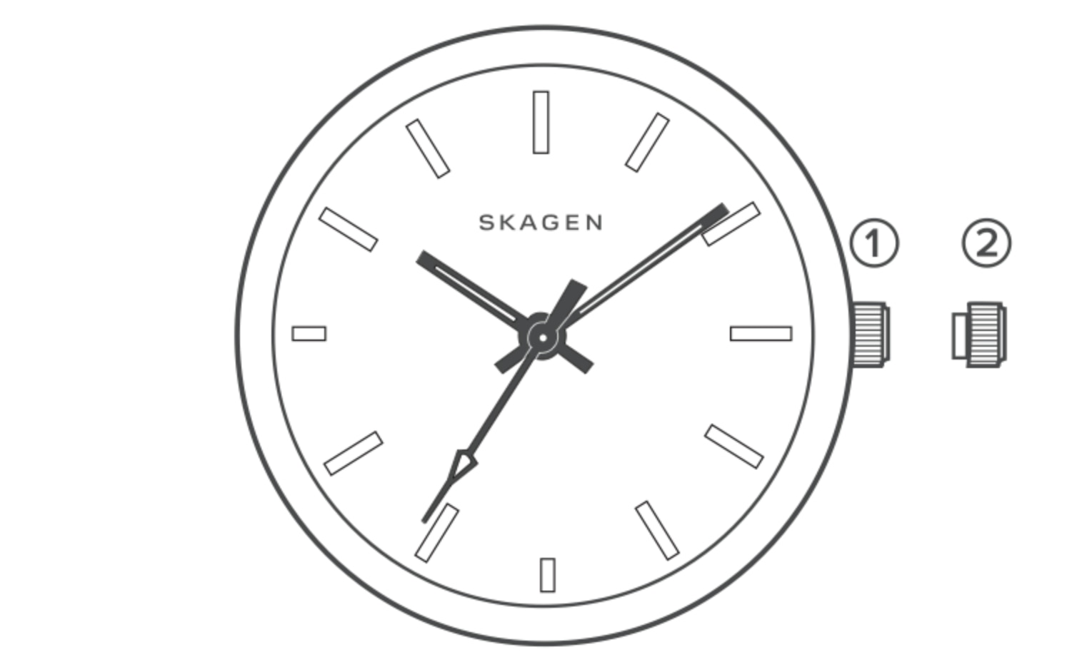line art of the dial for a solar powered watch, identifying the parts of the watch.