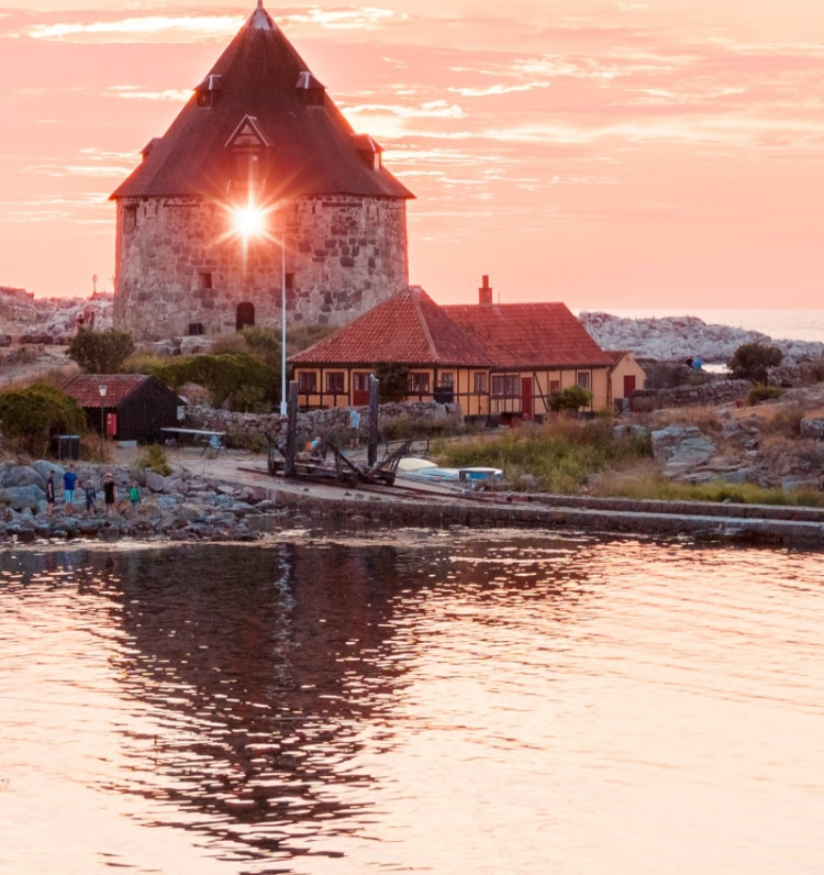 Sunset view over a seaside Danish town.