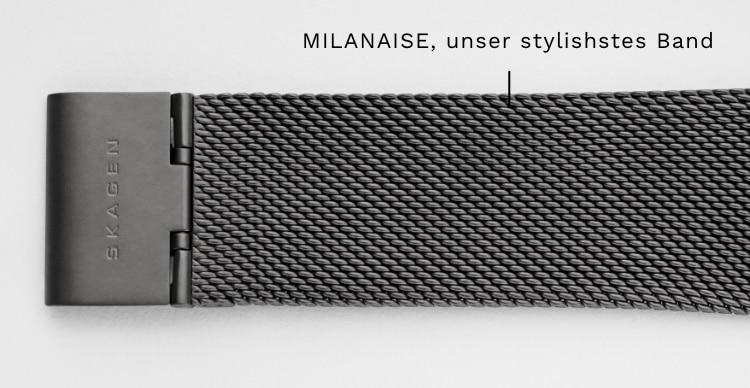 Nahaufnahme unseres ikonischen Milanaisebands. Callout: MILANAISE, unser stylishstes Band