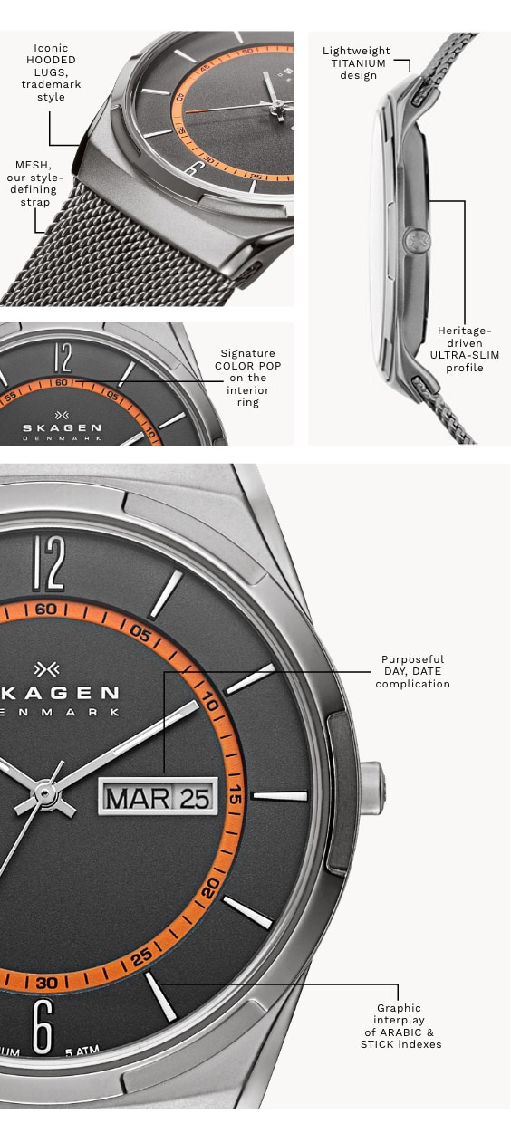 A Melbye watch with a silver-tone case with matching mesh strap with black dial and orange inner ring. Has the following call-outs on it: 'Signature COLOR POP on the interior ring' 'Purposeful DAY, DATE complication' 'Graphic interplay of ARABIC & STICK indexes.' 'Iconic HOODED LUGS, trademark style' 'Lightweight TITANIUM design' 'Heritage-driven ULTRA-SLIM profile' 'MESH, our style-defining strap'