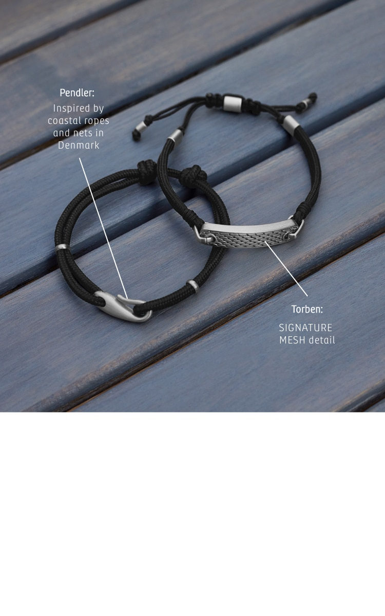 Images of two rope bracelets with silver accents. Callouts: PENDLER: Inspired by coastal ropes and nets in Denmark. TORBIN: SIGNATURE MESH detail.