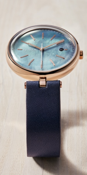 skagen solar watch with a leather band