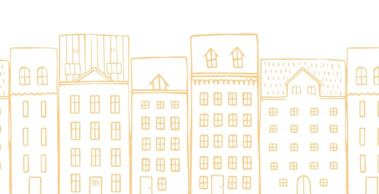 Illustration of a city block.