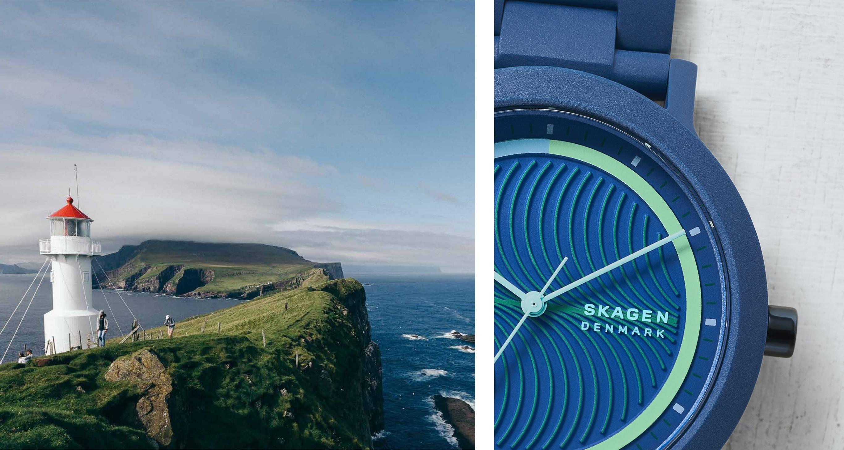 Image of a lighthouse and ocean. Image of blue Aaren Ocean watch.